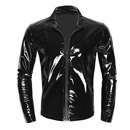 dPois Herren Glänzend Tops Langarm Shirt T-Shirt mit Reißverschluss Wetlook Leder Hemd Männer Unterhemd Muskelshirt Clubwear Schwarz M-XXL Schwarz Medium