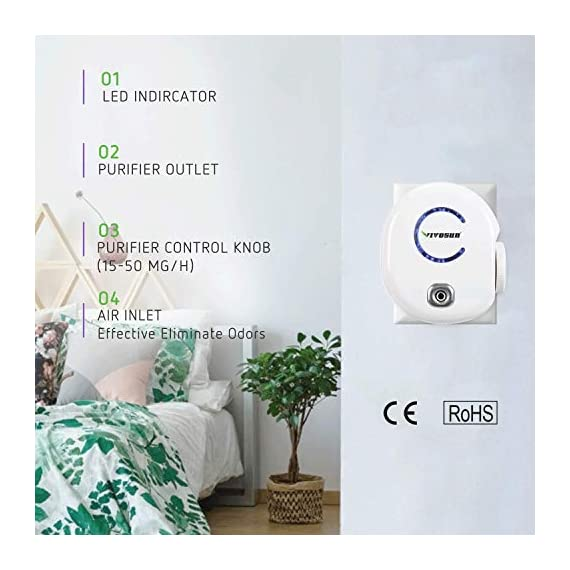 Vivosun 2-pack plug-in mini ionic air purifier ozone generator - portable odor eliminator, adjustable efficiency 10-50mg… 3 freshen your life: designed for domestic use, place this ozone generator wherever odors permeate like dressing rooms, dining rooms, kitchens, bathrooms, basements, and rooms with pets. Best used within enclosed spaces. Range: from 10–50mg/hr. Fitting for different environments and equipped with a performance indicator light. Vivosun air purifier only emits little to no noise while it in operating. Modern design: plug in to use, easy to carry. Just turn the wheel to start and regulate the production of ozone. Easy to use and transport.