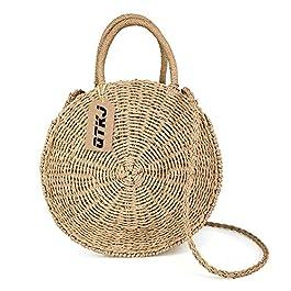 QTKJ Les femmes paille été sac de plage tissé à la main ronde sac de rotin sac à bandoulière sac à bandoulière Messenger…