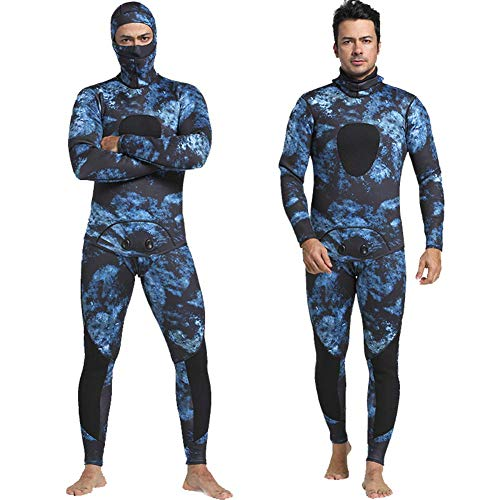 Nataly Osmann Men 5mm Spearfishing Premium Camouflage Neoprene Wetsuit Scuba Diving Suit Hoodie Snorkeling Suits (Blue camo 01, L)