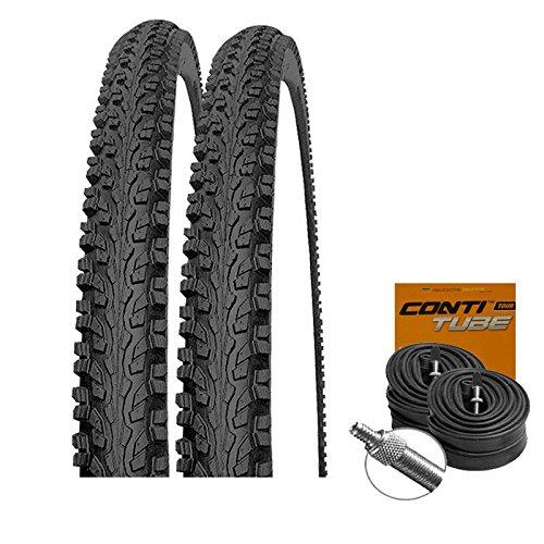 Mitas Set: 2 x Blade Classic Fahrrad MTB Reifen Mittelsteg 26x1.90 + Conti SCHLÄUCHE Dunlopventil