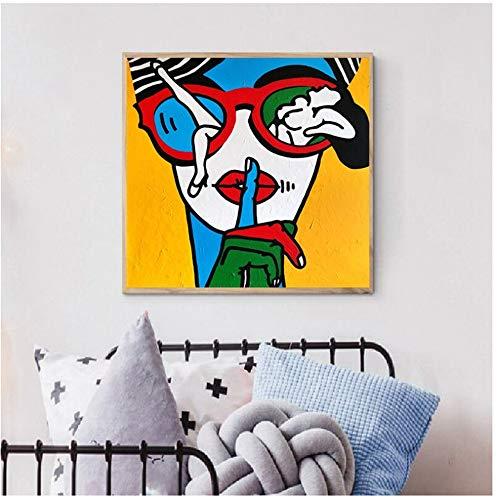 Dibujos animados abstractos Mujeres Pinturas en lienzo Arte de la pared Impresiones Póster Decoración de la sala de estar Pinturas decorativas en la pared Decoración del hogar 60x60cm (24x24in)