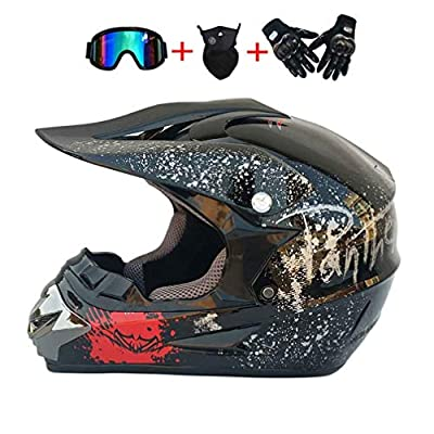 Full Face & BMX Helmen, Motorcycle Mountain Bike Modular Helmet with Goggles Gloves, Lightweight Motocross ATV Road Crash Helmet Protective Gear, D.O.T Certified (Black,L)