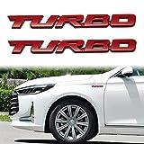 TOMALL 2 pegatinas 3D de metal Turbo Premium para guardabarros trasero de coche, para todos los coches de aleación de zinc modificado Turbo emblemas decoración para coche (rojo-L)