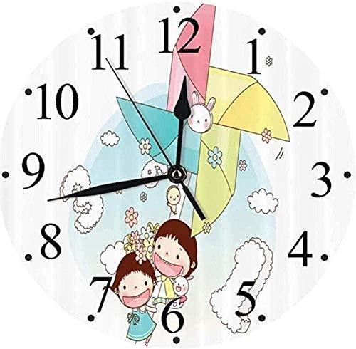 Reloj de pared grande para cocina, sala de estar, dormitorio, oficina, baño, reloj de pared, tictac silencioso, molinillo, niño y niña, amistad, alegre, infantil, decorativo, reloj de pared-M027