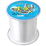 Clear Fishing Line, 1640 FT/547Yards/500M Fly Line Monofilament Fishing Wire Nylon Strong...