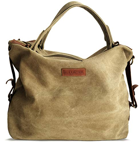 ILLUSYA® Ilva Canvas Rinds Leder Shopper - Vintage Style - Handgepäck Tasche - große Damen Tasche - Unisex - Schultertasche - Umhängetasche - Beuteltasche