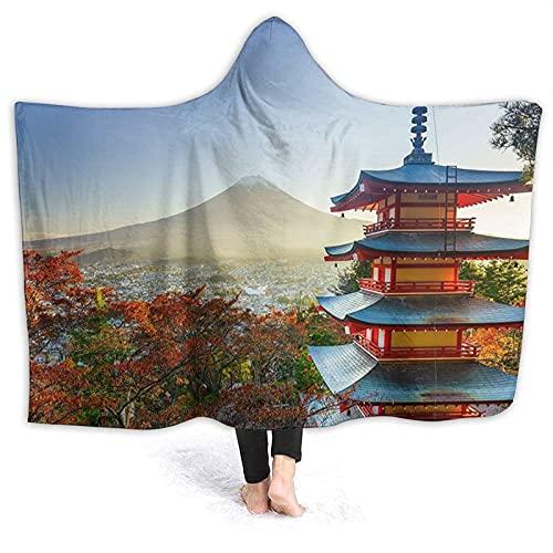 Coperta con cappuccio – Giappone Mount Fuji Paesaggio in pile con cappuccio coperta avvolgente, super morbido caldo coperte 150 cm x 140 cm