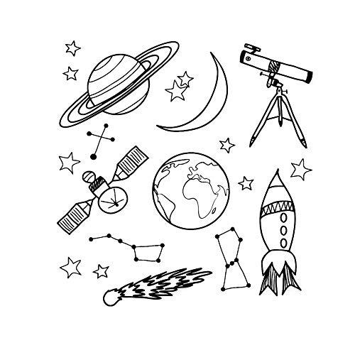 Ruimte muur sticker jongen kamer buitenruimte kwekerij muur sticker telescoop telescoop raket schip ster vinyl sticker planeet decoratie kind <> 78x81cm