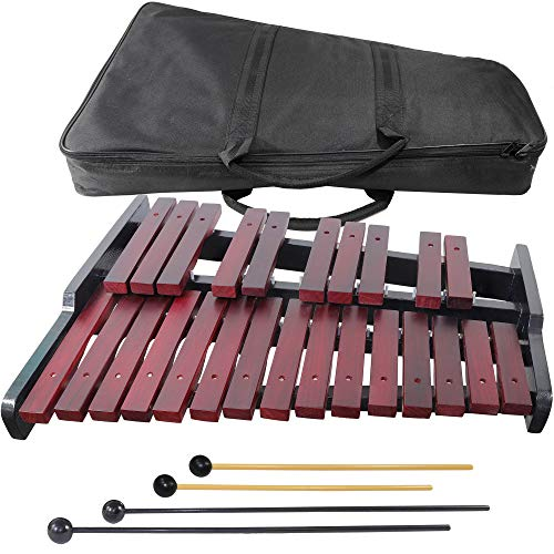 Wooden Xylophone for Adults - 25-note - Carrying Bag - 4 mallets - Musical Notes for Beginners