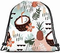 手描きの抽象的な漫画夏デトックス巾着バックパックスポーツジムバッグ女性男性子供用ジッパーと水筒メッシュポケット付き大型サイズ