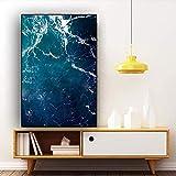 QWESFX Abstract Waves Deep Blue Ocean Sea Pintura de Lienzo Pinturas de Gatos en Lienzo Pinturas Set Lona Estirada para Pinturas para dormitorios A5 60x120CM