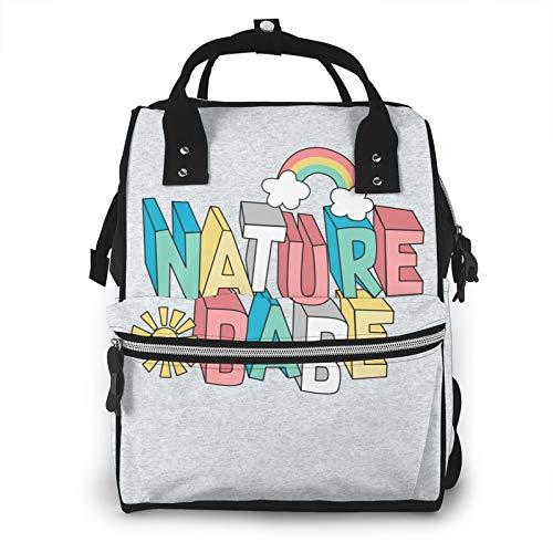 Nature Babe - Mochila de pañales de gran capacidad, multifunción, con cremallera, informal, para mamá y papá, unisex