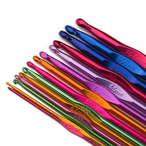 Luxbon Confezione da 14 misure Set di Uncinetti in Alluminio Multicolore Set Ferri da Maglia Filato Artigianale 2mm-10mm