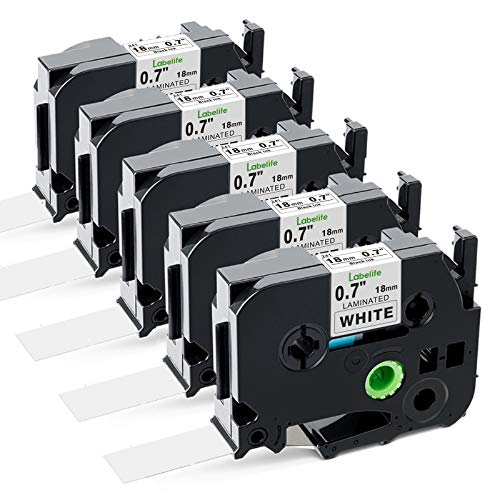 Labelife Compatible Label Tape Replacement for Brother Ptouch 18mm 0.7 Inch Black on White Laminated P Touch TZe Label Tape TZe-241 for P Touch Label Maker PTD600 PT-1890C, 26.2 Feet (8m), 5-Pack