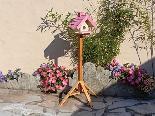 Vogelfutterhaus,BEL-X-VOWA3-pink002 Großes Vogelhäuschen + 5 SITZSTANGEN, KOMPLETT mit Futtersilo + SICHTGLAS für Vorrat PREMIUM Vogelhaus – ideal zur WANDBESTIGUNG – vogelhäuschen, Futterhäuschen WETTERFEST, QUALITÄTS-SCHREINERARBEIT-aus 100% Vollholz, Holz Futterhaus für Vögel, MIT FUTTERSCHACHT Futtervorrat, Vogelfutter-Station Farbe pink rosa rosarot süß, MIT TIEFEM WETTERSCHUTZ-DACH für trockenes Futter - 6