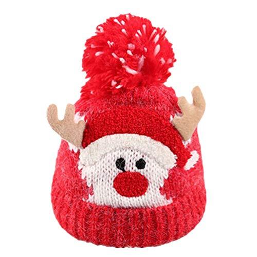 Amosfun Gorro de Navidad Gorro bebé niñas Ciervos Gorro de Invierno Gorro de Punto Animal para niños niñas bebés Varones Rojo
