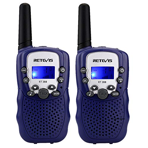 Retevis RT388 Kids Walkie Talkies Walkie Talkie for Children 8 Channels PMR446 VOX Flashlight Easter Toy Gifts for Family Hiking Spring Outing(Navy Blue, 1 Pair)