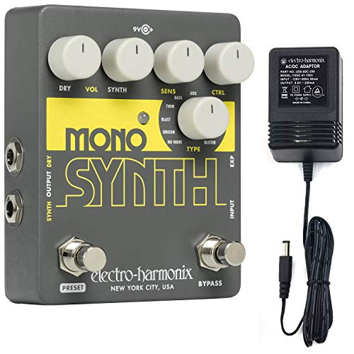 Electro Harmonix Guitar Mono Synth Effects Pedal Includes Power Supply