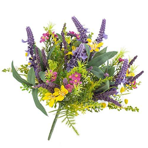 artplants.de Künstlicher Frühlingsstrauß aus Lavendel, Butterblume, gelb - lila, 25cm, Ø 20cm - Kunst Blumenstrauß