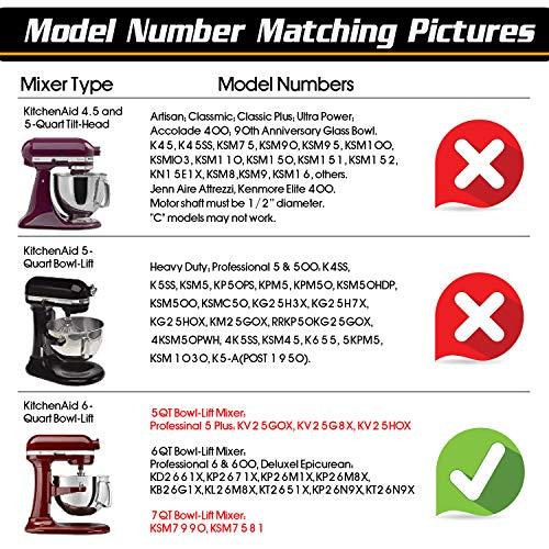 AIZARA 6 Quart Kitchenaid Mixer Attachments for KitchenAid 6 QT Bowl-Lift Stand Mixer, Flat Beater Flex Edge Beater for Kitchenaid Mixer 6 qt, Bowl Scraper Blade Paddle, Kitchenaid Mixer Accessory