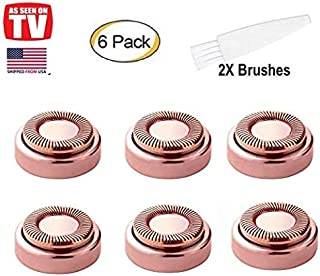 Facial Hair Remover Replacement Heads, STOUCH Hair Removal Blades For Women's Painless Epilator for Smooth Finishing and Perfect Touch, As Seen ON TV, Gold Rose, Count 6