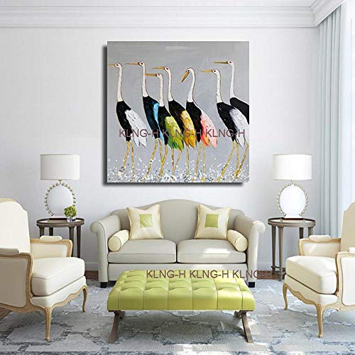 mmzki Kinderzimmer Ölgemälde-gemalte abstrakte Cartoon Malerei Vögel Ölgemälde Kran Wand Leinwand Gemälde Kunst p-70x70CM_Kingh1