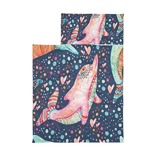 Nap Mats Watercolor Lovely Dolphins Seamless On Bac Daycare Nap Mats Soft Microfiber Lightweight Roll Up Nap Mat For Toddlers Perfect For Preschool, Daycare And Sleepovers