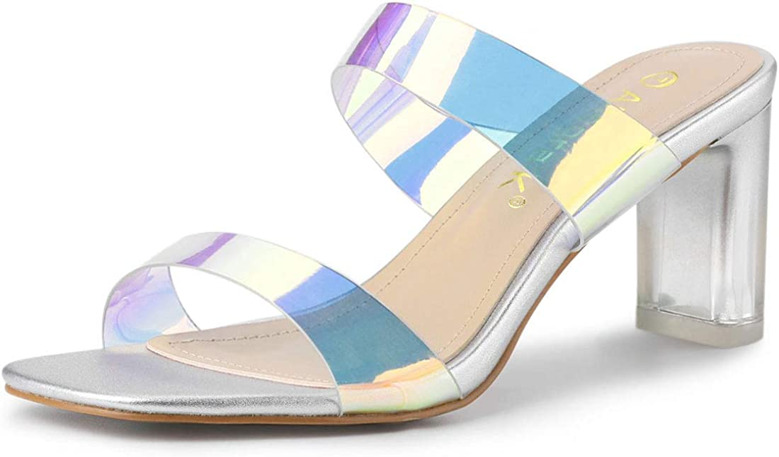 Now on sale Allegra K Ranking TOP13 Women's Colorful Straps Chunky Clear Heel Heels