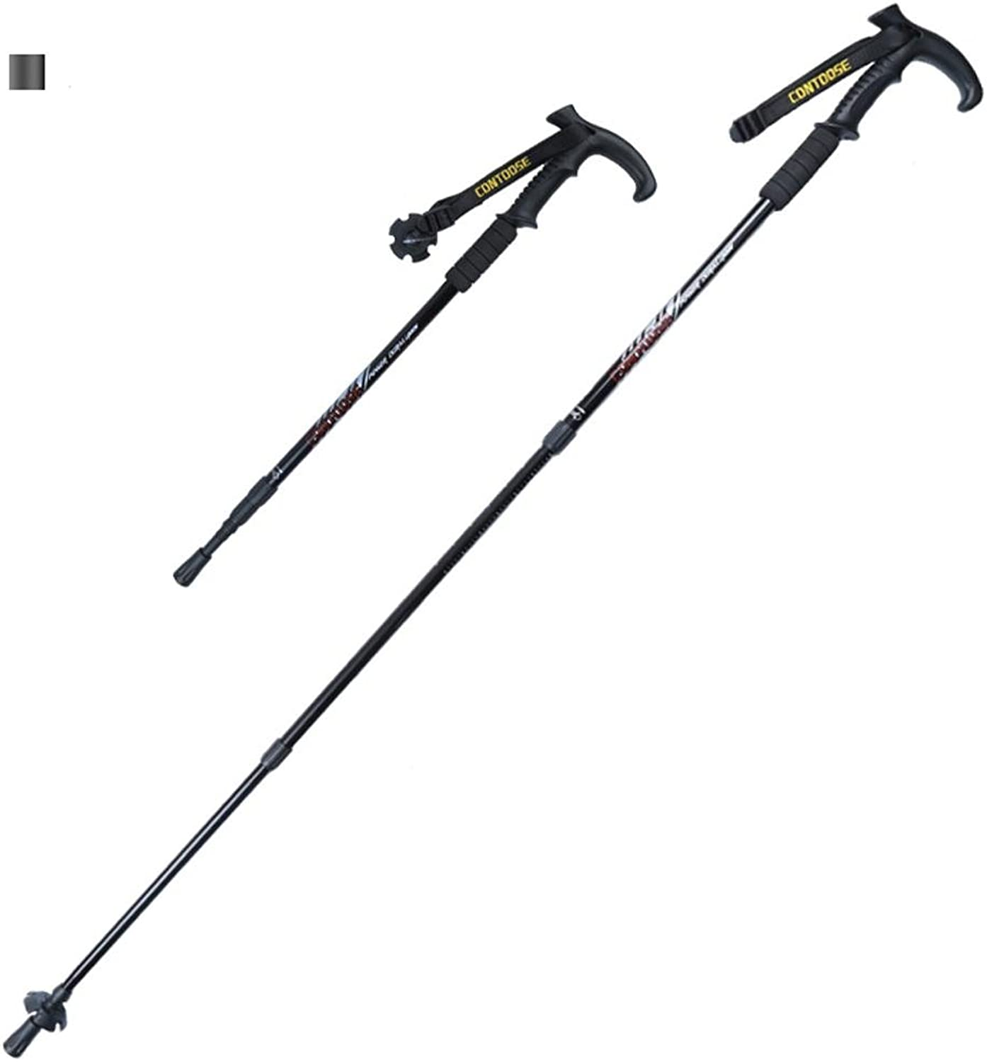 ROBAG Telescopic Folding Aluminum Hiking Stick Walking Poles, Rubber T Handle Outdoor Equipment