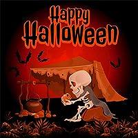 Qinunipoto 背景布 ハロウィン happy halloween 撮影用 夜 骷髅 かぼちゃ テント コウモリ 写真撮影用 写真の背景 背景幕 商品撮影 人物撮影 写真館 自宅用 ポートレート写真の背景ビニール 3x3m