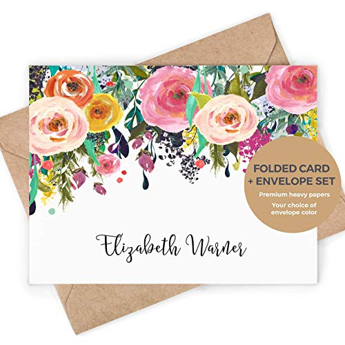 MULTI FLOWER FOLDED - Personalized Stationery Note Card/Custom Hot Pink Colorful Pretty Womens Roses Elegant Stationary Notecard and Envelopes Set
