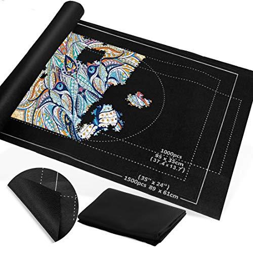 Zaloife Tapete Puzzle, Tapete para Enrollar Puzzles, Tapete para Puzzles 1500 Piezas, Puzzle Mat Negro,Estera de Rompecabezas Portátil, Puzzle Mat Roll