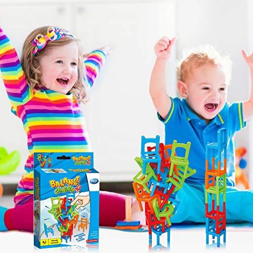 16Pcs Sillas de juego apilables Juguetes de equilibrio apilables Mini bloques Sillas apilables Juego de juguetes de torre Sillas Juego de equilibrio de torre apilable Sillas y escaleras educativos