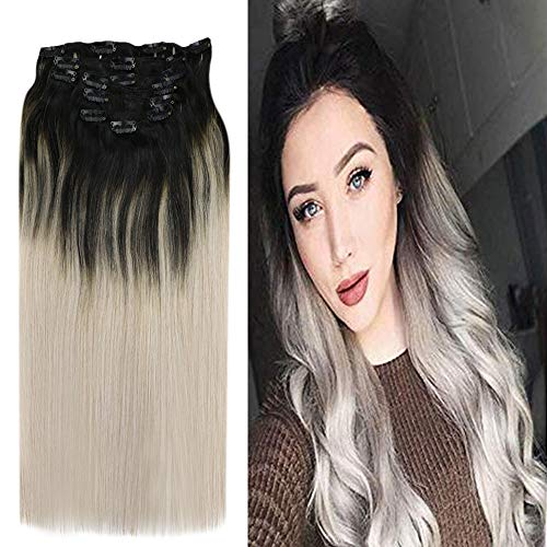 YoungSee Ombre Clip in Extensions Echthaar - Schwarz bis Grau Balayage Clip Echthaar Extensions - Voller Kopf Clip in Human Hair Extensions 7 Tressen 120g 45cm