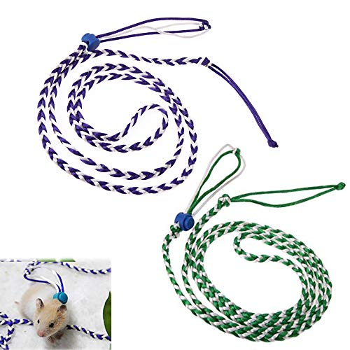 PIVBY Adjustable Hamster Leash Harness for Rats Ferret Mouse Squirrel Small Animal Pack of 2