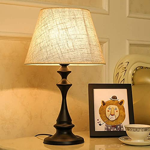 FHUA Lámpara Escritorio Lámpara de Mesa Tela de Lino Pintura de Hierro lámpara de Mesa Pulida Comedor Cocina Dormitorio Aprendizaje Interruptor de botón de cabecera Blanco y Negro (Color:Negro)