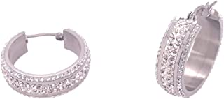 Bevilles Stainless Steel Crystal Hoop Earrings