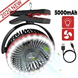 OUTXE Camping Fan with LED Light 5000mAh Clip-On Fan with Hanging Hook USB Rechargeable Tent Fan Portable Fan