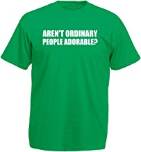 Brand88 Aren't Ordinary People Adorable?, Mens Printed T-Shirt - Kelly Green/White M