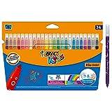 BIC Kids Rotuladores Lavables para Niños, Kid Couleur, Colores Surtidos, Punta Media para Niños, Caja de 24