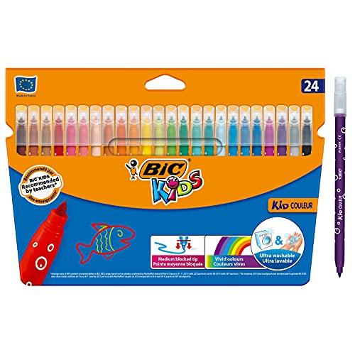BIC Kids Kid Couleur Gekleurde Viltstiften Medium Punt - Verschillende Kleuren, Pak van 24 Stuks
