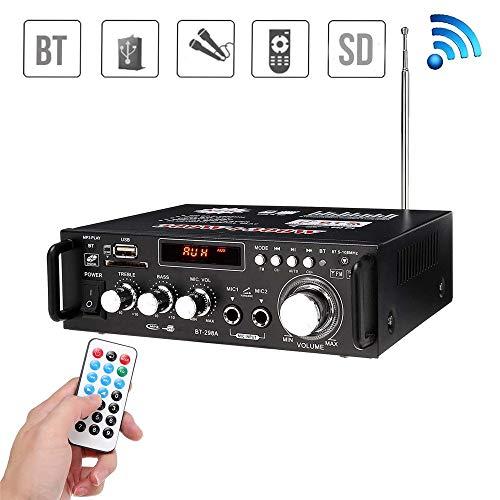 JIASHU Sistema de Amplificador de Audio para el hogar Profesional Bluetooth - Receptor estéreo de Potencia de Sonido de Audio de 600 w con USB, Micro SD, Auriculares, 2 entradas de micrófono con Eco