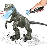 Remote Control Dinosaur Toys 26' Big for Kids 8-12 Boys Girls, Realistic Rechargeable Walking Velociraptor Blue with Light Music Sound, RC Robot Toys Birthday Party Gifts for 5-7 8 10 12 Year Old