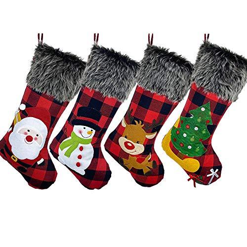Weihnachtsstrumpf 4er Set, Nikolausstiefel zum Befüllen 46cm, Großer Nikolausstrumpf Kreative Weihnachtsgeschenktasche, Weihnachtsdeko zum Aufhängen für Wand, Kamin, Treppe, Weihnachtsbaum, Zuhause