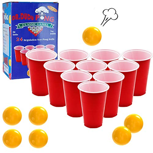 DR.DUDU Pong Cups and Balls Set, Giant Pong Game Set with 24 Cups 24 Pong Balls, 16oz