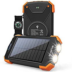 top 10 patriot power cell Solar Power Bank, Portable Qi Charger 10,000mAh External Battery Type C Input Connection Dual…