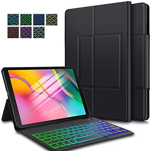 ELTD Tastatur Hülle für Samsung Galaxy Tab A 10.1 2019(Deutsches QWERTZ-Layout), Hülle mit 7 Farben LED-Hintergrundbeleuchtung Kabellose Tastatur für Samsung Galaxy Tab A T510/T515 10.1 Zoll (Schwarz)