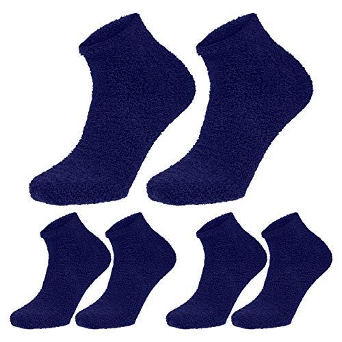 SOIMISS 3 Pares de Calcetines de Color Sólido Mullido Zapatilla Calcetines Gruesos Calcetines Calientes Tamaño Libre Coral Polar Calcetines para Hombres (Azul)