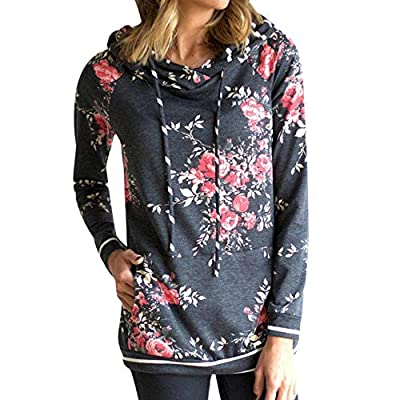 Sufeng Fashion Women's Hooded Print Long Sleeve Pullover Stand Sweatshirt
